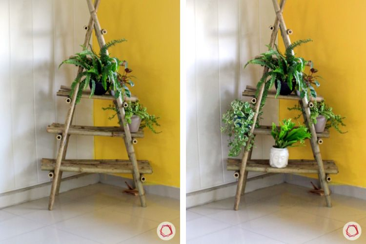 christmas tree making-yellow wall ideas-potted plants