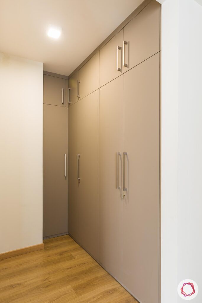 livspace gurgaon-walk-in wardrobe designs-membrane finish wardrobe