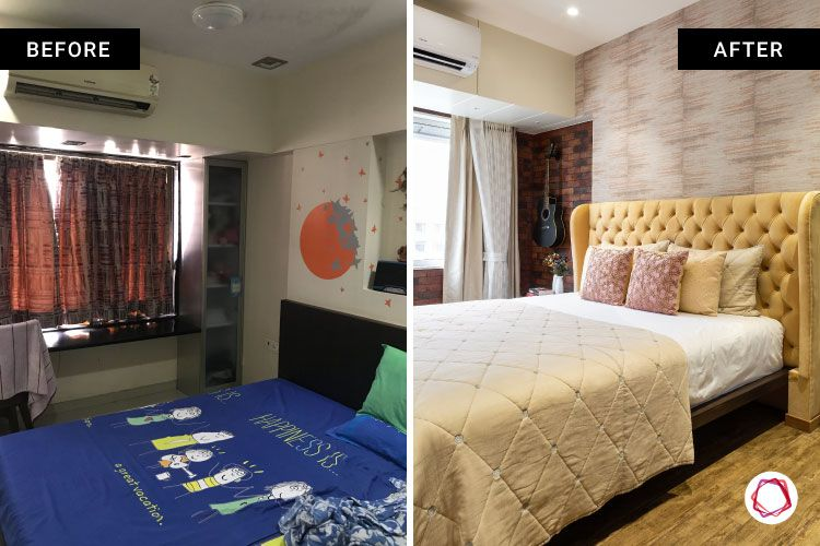 home makeover India-bed designs-headboard cushion-before and after images