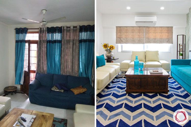 home makeover India-blue sofa-before and after images-carpet-window designs