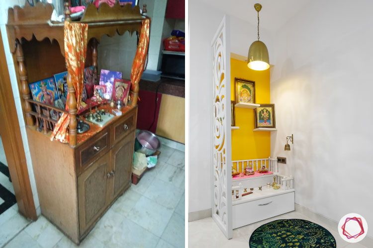 home makeover India-pooja room-before and after-wite mdf pooja room