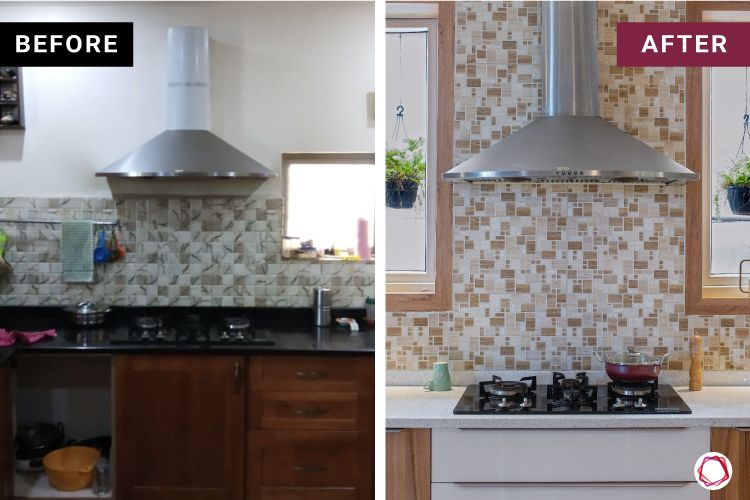 home makeover India-chimney-hob-countertop-wooden cabinets