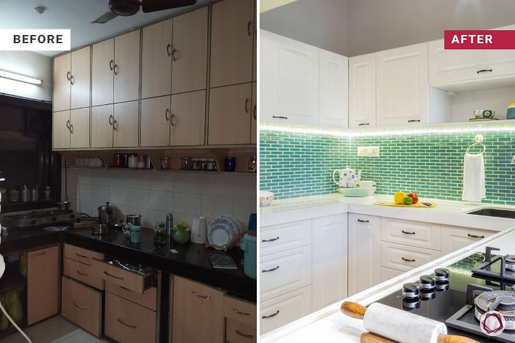 before and after-green backsplash-white cabinets