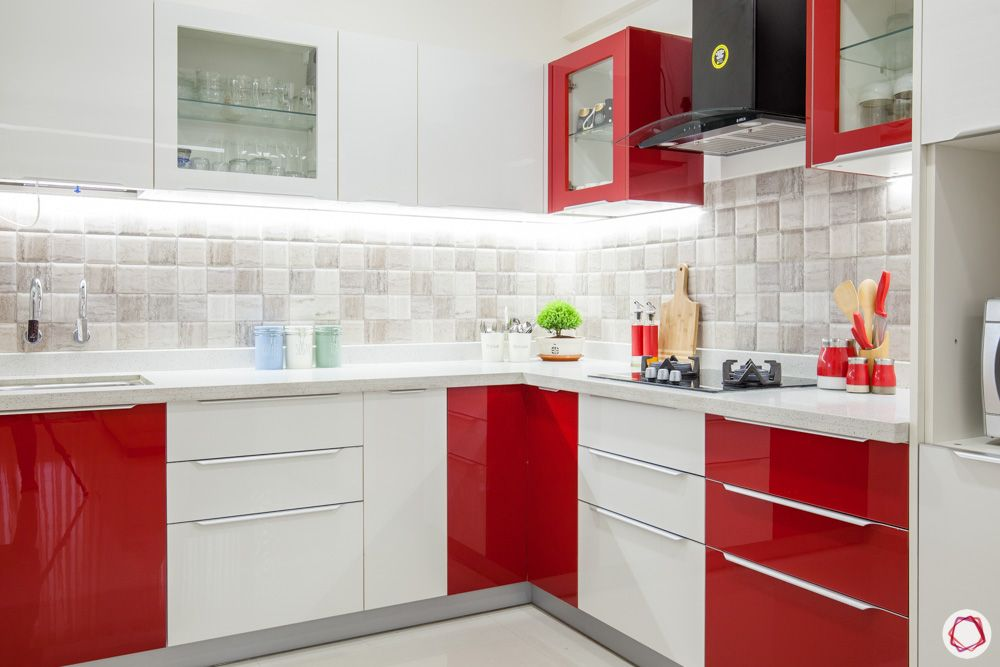 red and white kitchen designs-profile lighting for kitchens