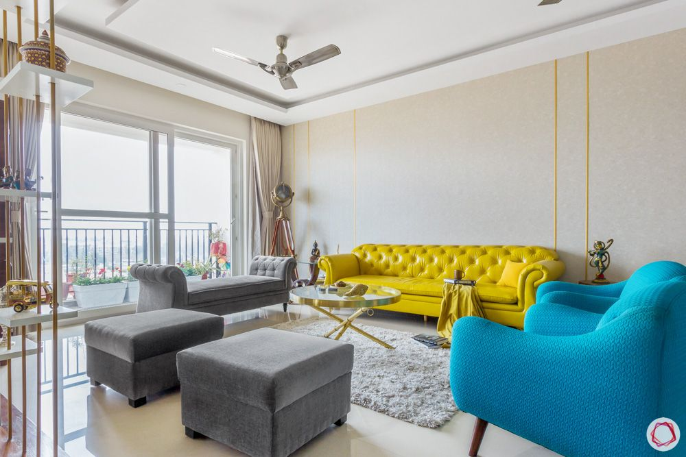 yellow couch designs-blue armchair designs