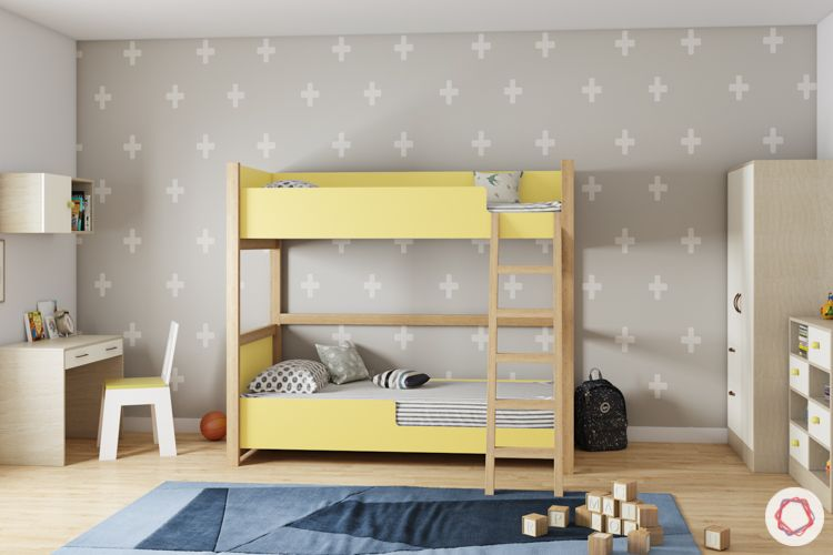 trundle bed-yellow bunk bed-kids room-cabinets-study unit