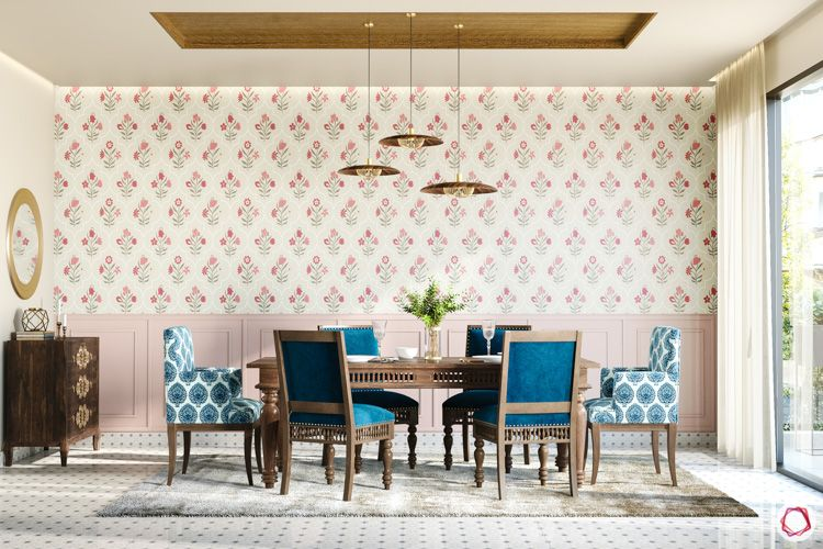 irrfan khan-dining room-upholatered chair-floral wallpaper-wooden furniture-pendant lights