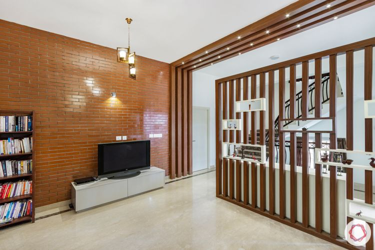 wooden beam designs-wooden partition designs-brick tiles for wall