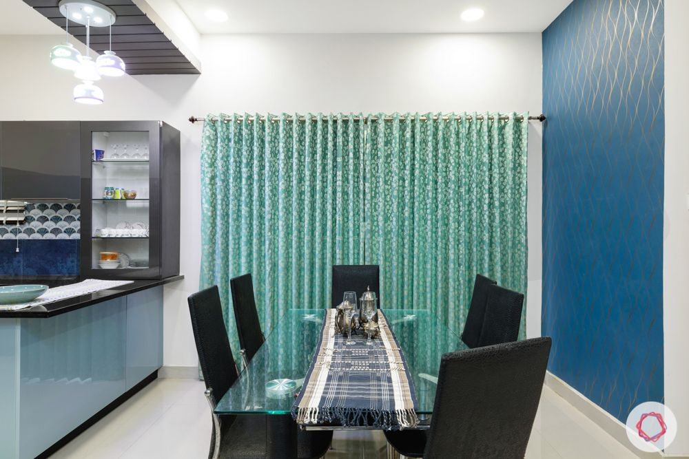 top interior designers in hyderabad-dining room-blue wallpaper