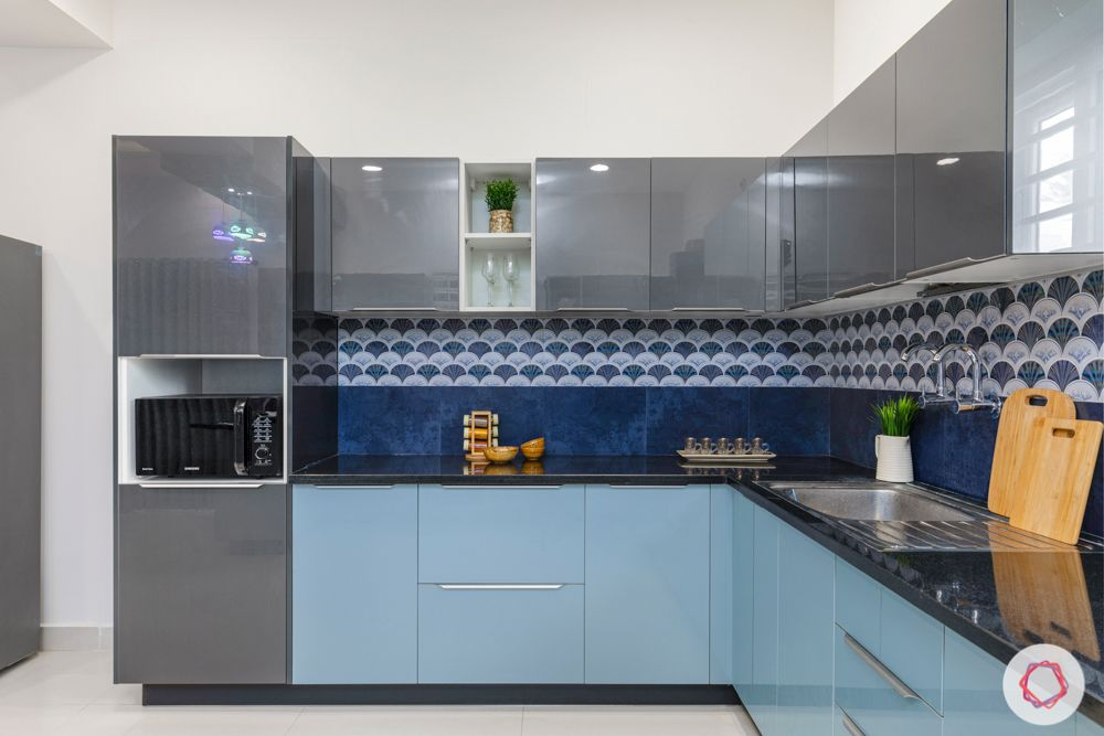 top interior designers in hyderabad-kitchen-grey and blue cabinets-blue backsplash