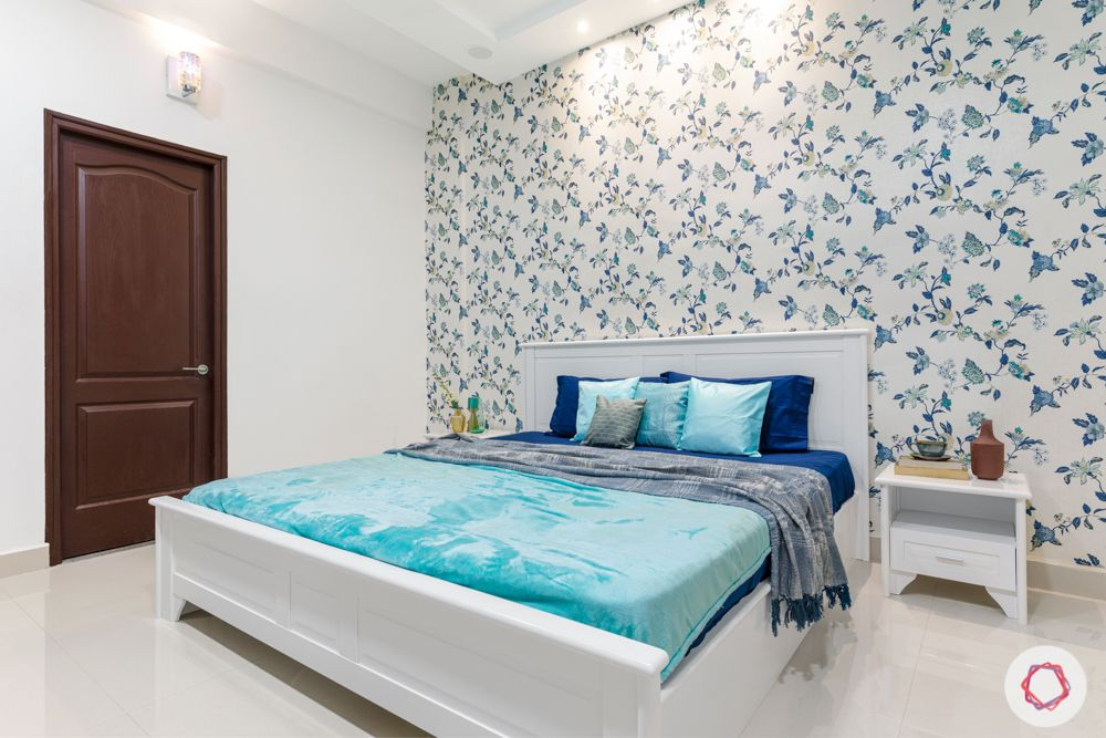 guest bedroom-white bed-blue and white theme