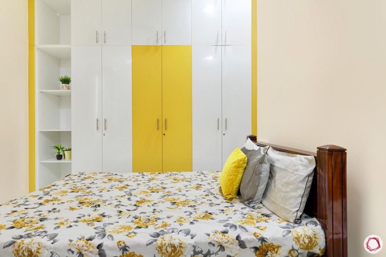 interior design in hyderabad-kids bedroom-white and yellow wardrobe-display shelves