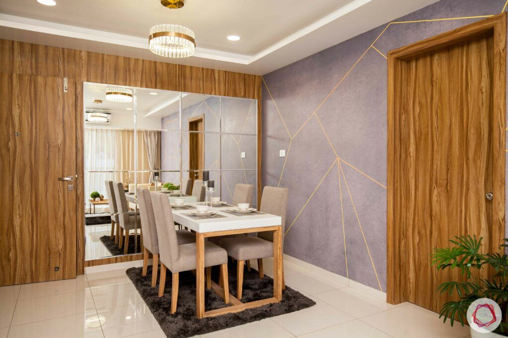 low budget home design-grey and gold wall-four-seater dining table-mirror wall