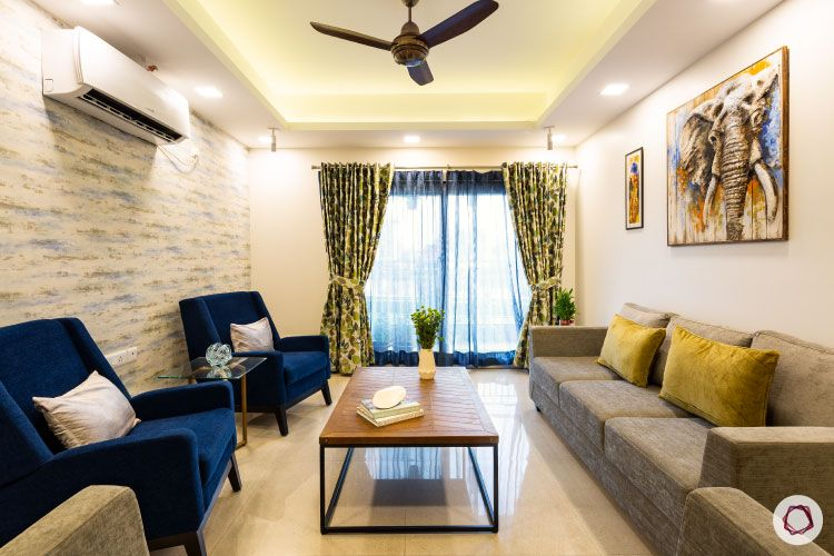 low budget home design-blue arm chairs-neutral interiors