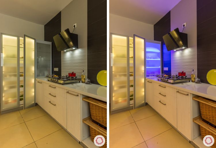 Livspace kitchen-pantry pullout-tall unit-backlighting