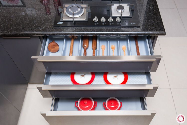 pull out drawers-storage cabinets-stove