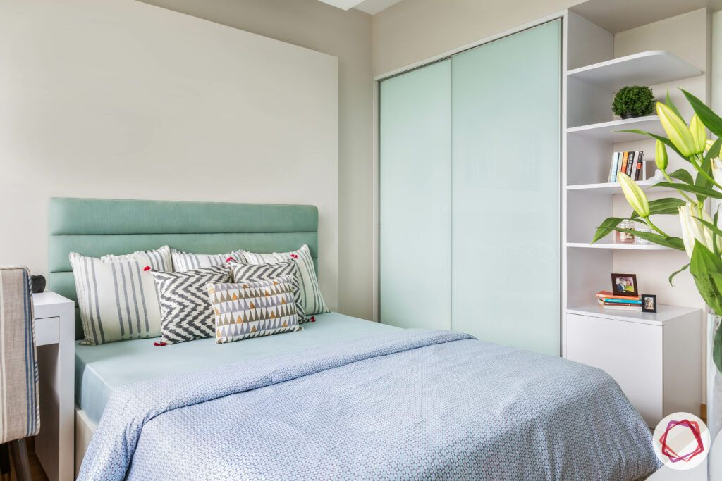 floating shelves-white and green themed bedroom-compact bedroom