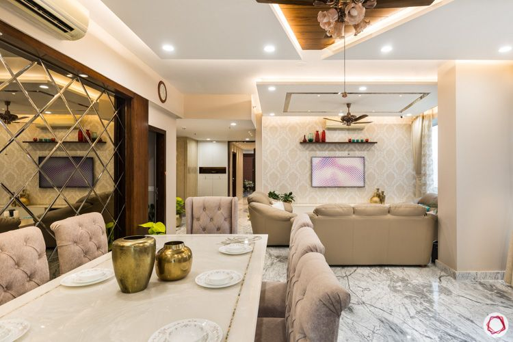 4bhk flat-dining room-dining table set-eight seater-cushioned chairs-neutral dining room