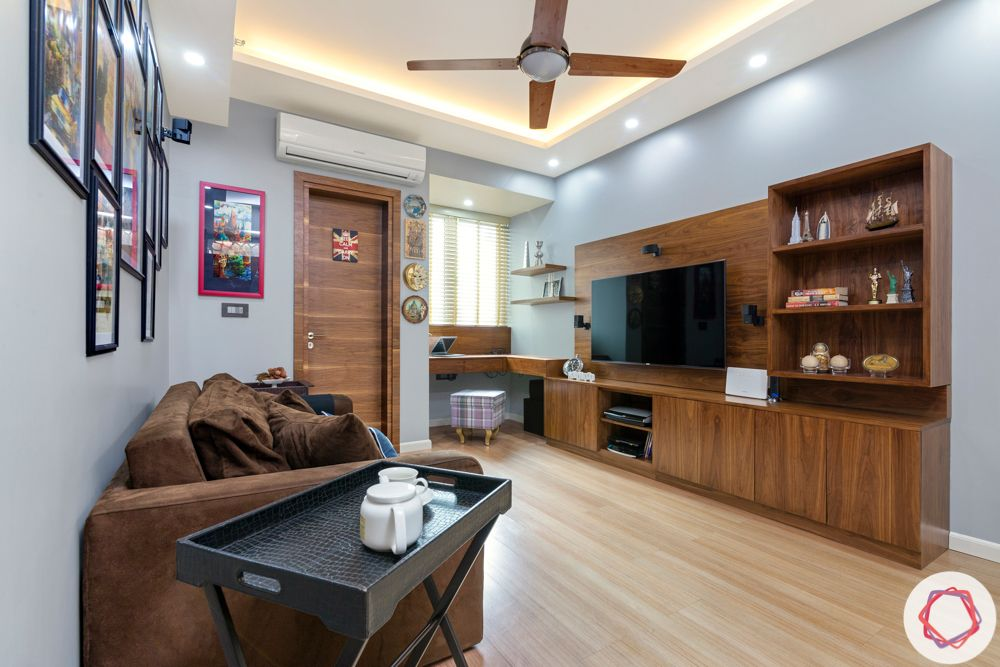 How to Reduce Interior Design Cost-TV-unit-study-wood-sofa