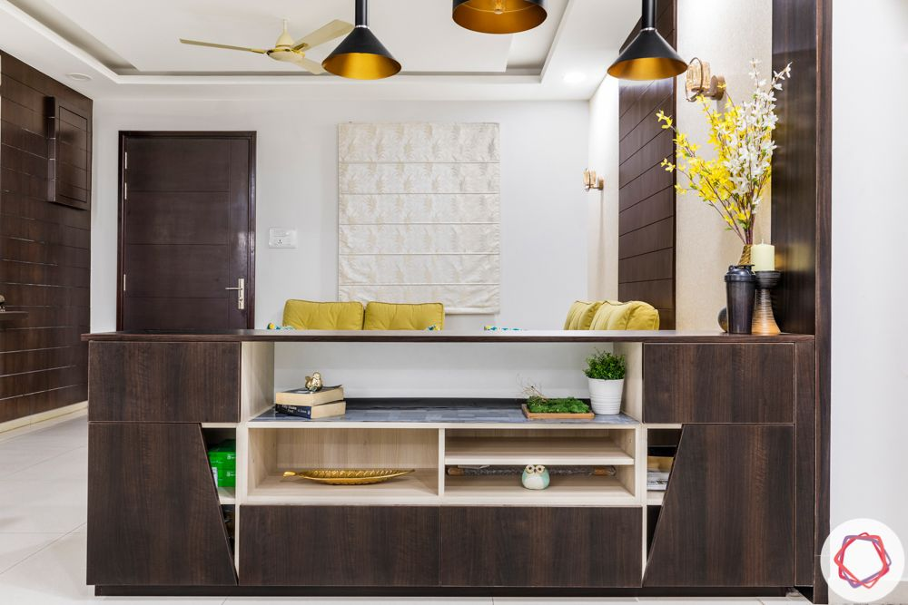 How to Reduce Interior Design Cost-storage-cabinet-divider-brown