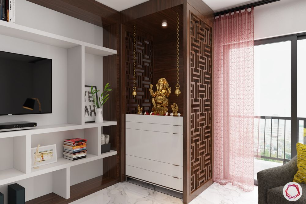 Vastu tips for home-mandir-living room-jaali partition