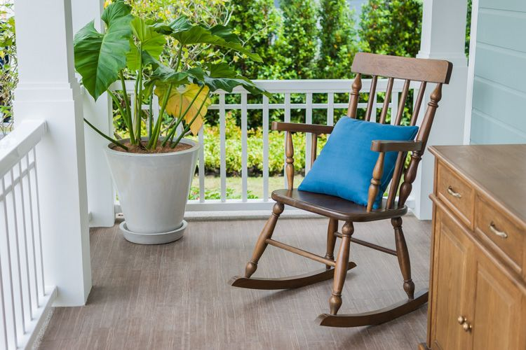 types-of-chairs-rocking-wood-patio-plant-white-railing