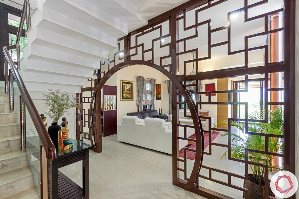 nambiar bellezea-living room-mdf partition-staircase