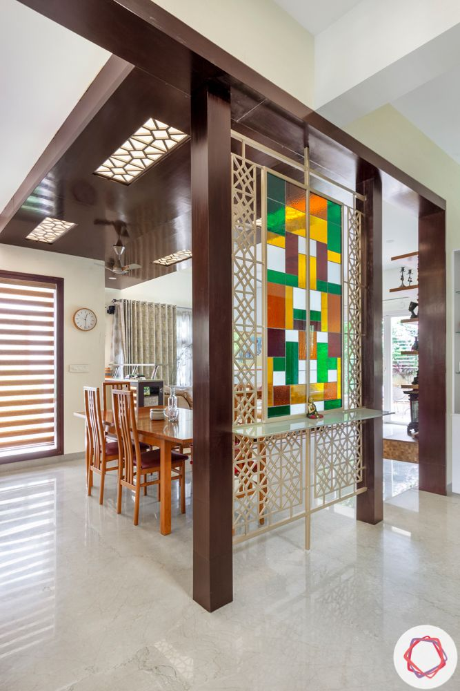 nambiar bellezea-dining room-stained glass--colourful glass partition-CNC jaali-dining room