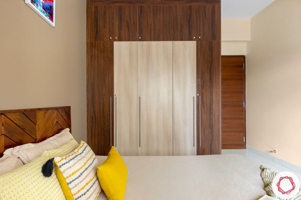 Wooden wardrobe-bicolour-t bar handle-loft