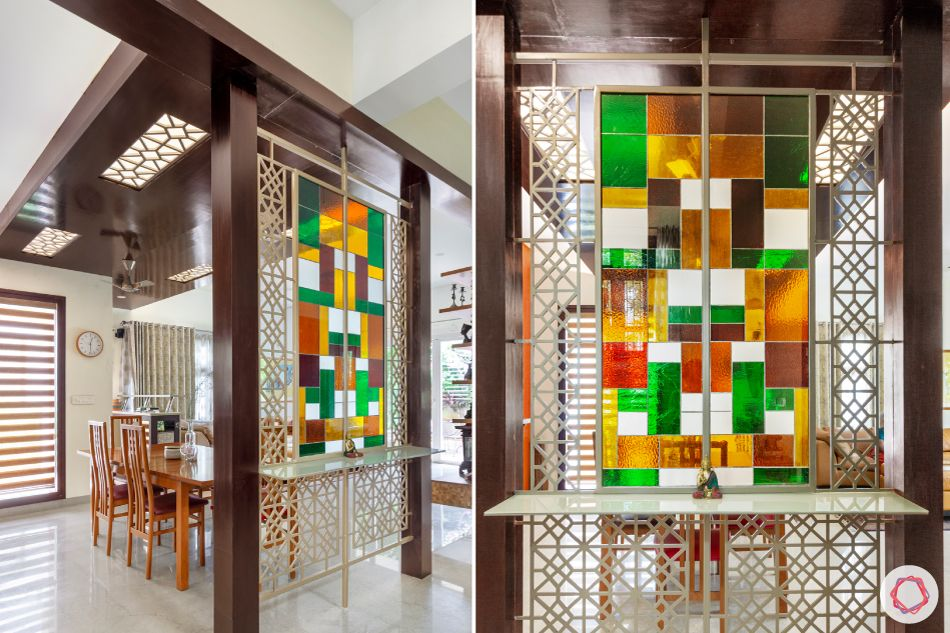 room partition ideas-stained glass-CNC jaali-glass parition design
