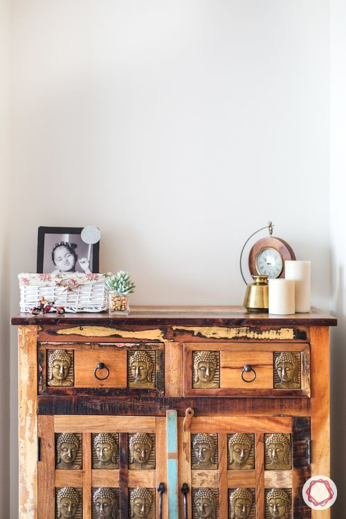 indian home decor ideas-wooden chest of drawers-brass trimmings