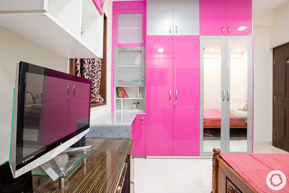 madhavaram serenity-daughters bedroom-pink and silver wardrobes-frosted cabinets