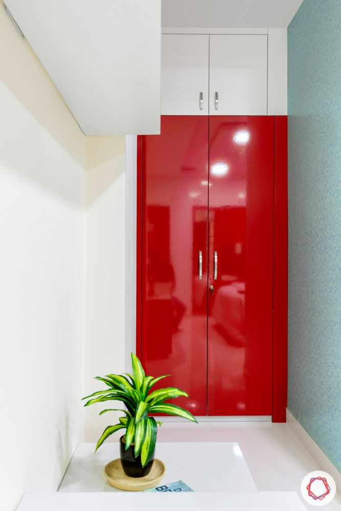 madhavaram serenity-Master Bedroom-red and white wardrobes-brown bed-red wardrobe