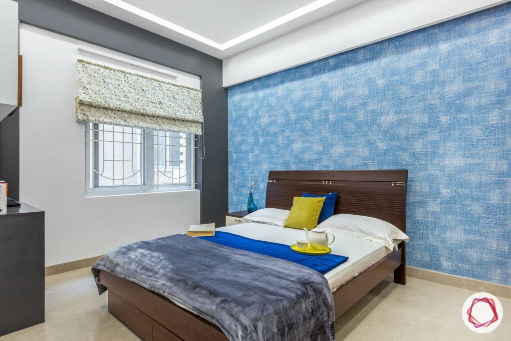 bangalore-home-design-bedroom-blue-wall-wooden-bed