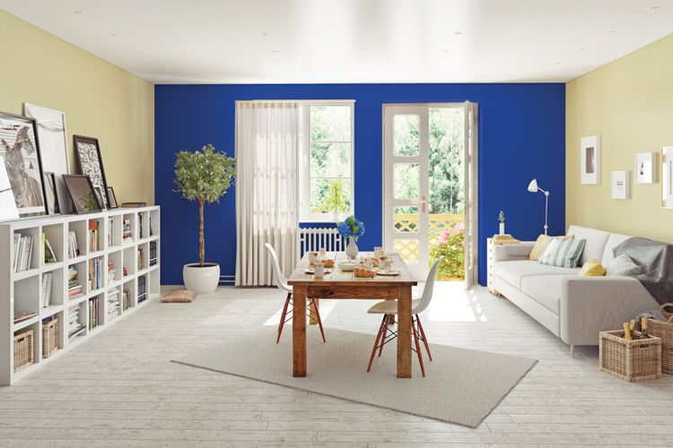 wall colour combination for living room-blue wall-white sofa-bookshelf-dining table