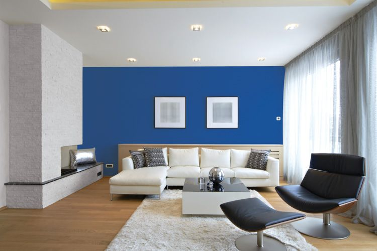 wall colour combination for living room-Blue wall-grey paint wall-lounger-sofa designs