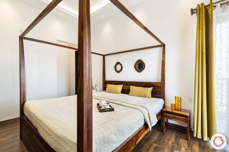 master-bedroom-mirrors-four-poster-bed-olive-curtains