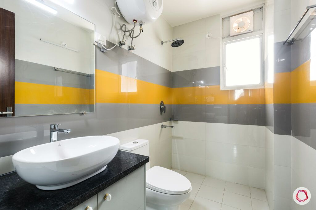 Bathroom Vastu-yellow-grey-white-sink-counter