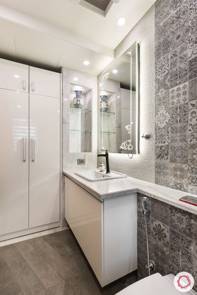 white-bathroom-grey-floral-tiles-wardrobe-light-colours