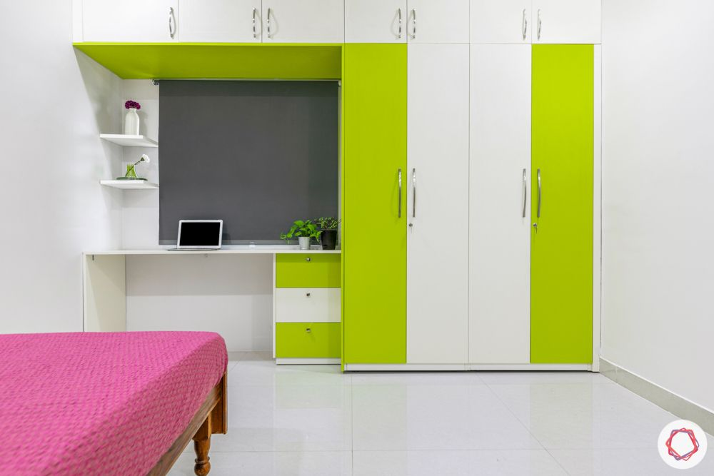 interior design for 3bhk flat-lime green wardrobe-kids room wardrobe