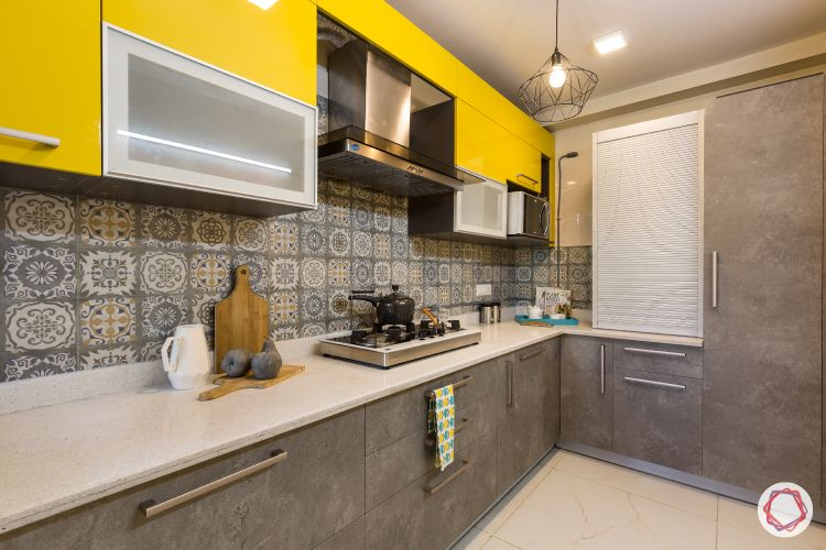 kitchen cupboard colours-yellow-grey-matte-glossy