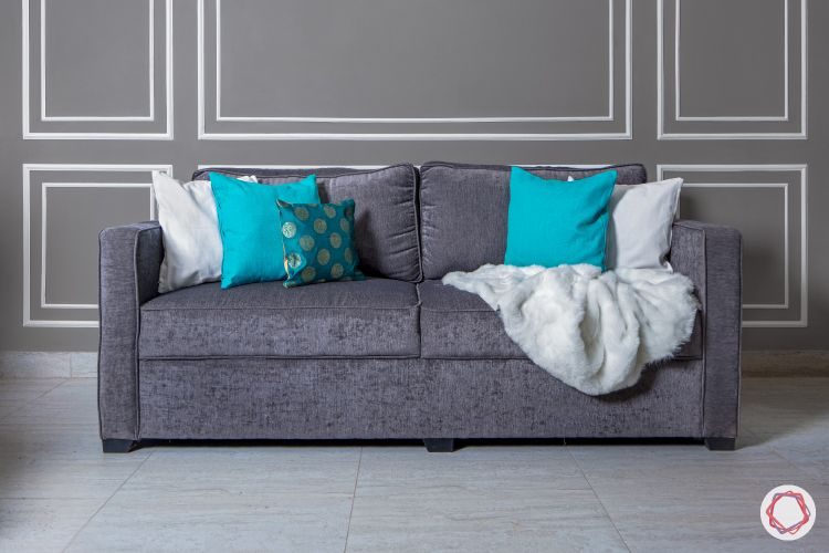 Living room colours-grey sofa-blue cushions