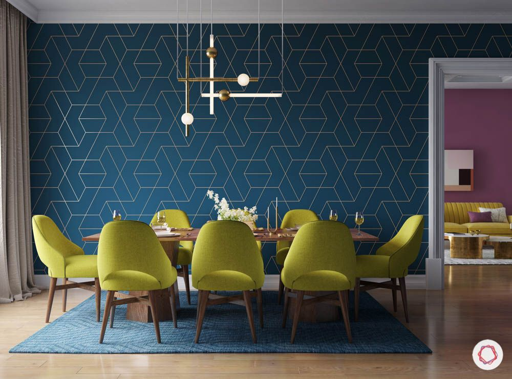 metal fixtures-quirky chandelier-blue wallpaper-lime green chairs