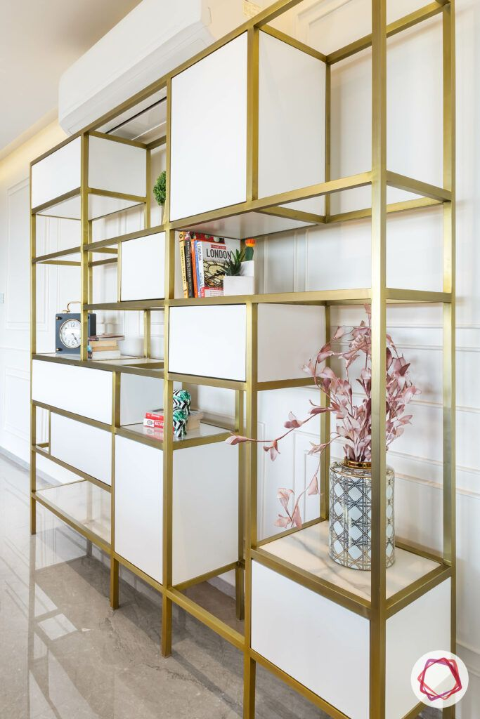 white and metal display unit-cabinets-open shelf