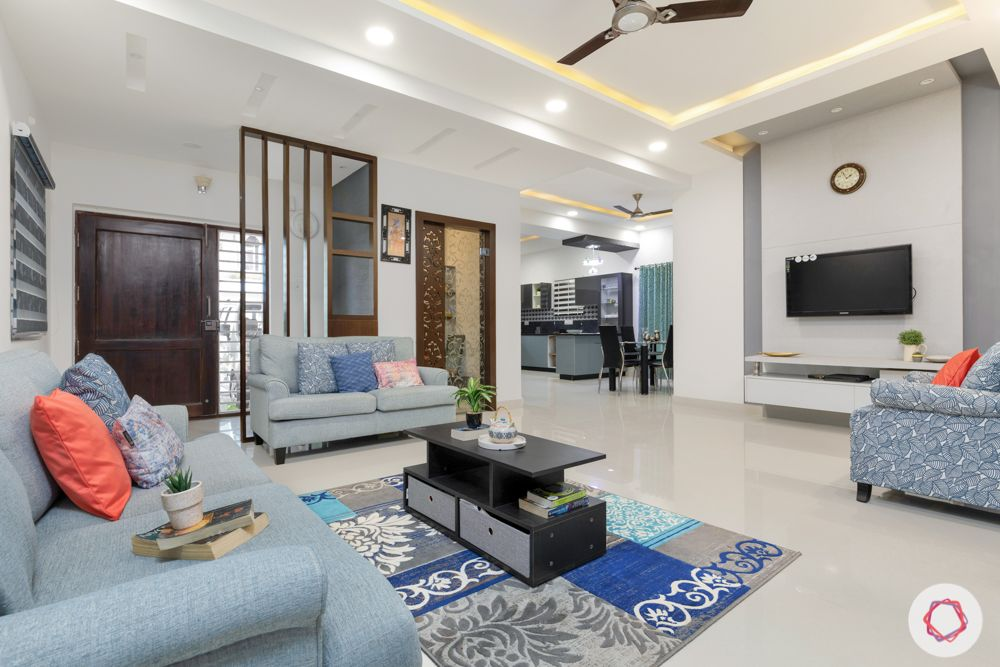 wooden partition-pooja room-tv unit