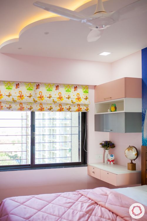 pink-white-grey-study unit-POP ceiling designs