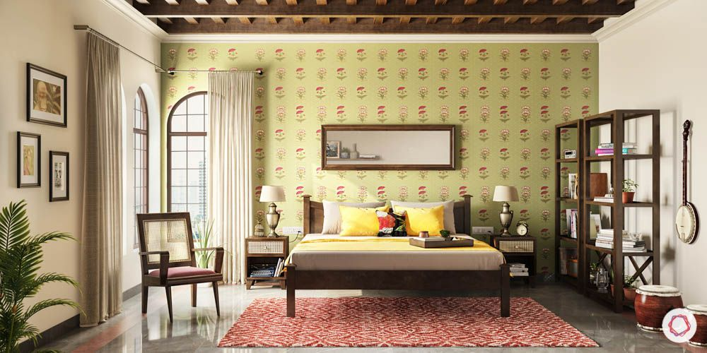 wooden furniture decor-wall painting designs-wooden rafters