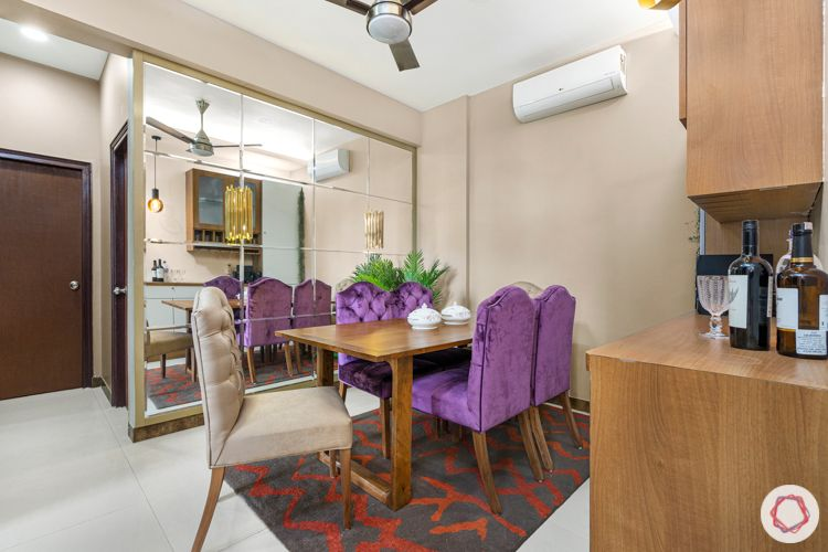 2-bhk-home-design-dining-room-beige-chairs-purple-chairs