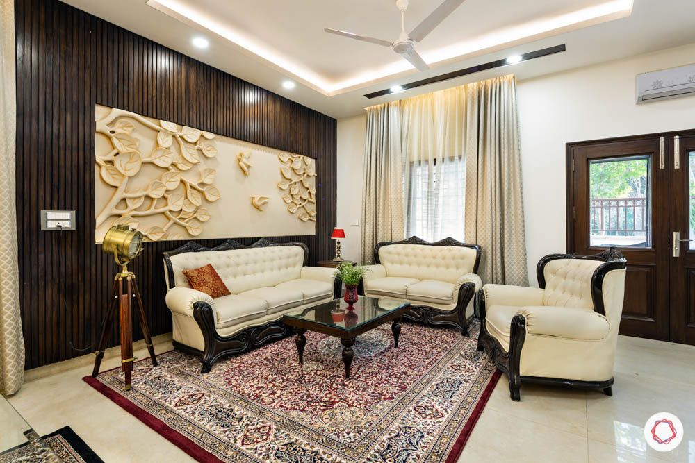 carpet designs for drawing room-intricate pattern-cream sofa