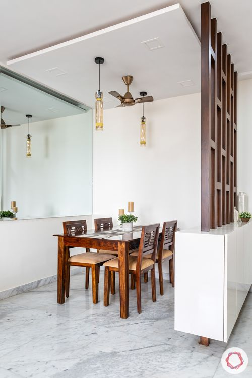 lodha luxuria priva-living room partition designs-wooden dining table